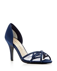 Caparros Cecilia Satin D'orsay High Heel Pumps Bright Navy