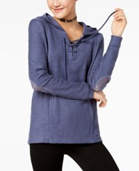 Roxy Juniors' Cotton Pearling Hoodie Navy