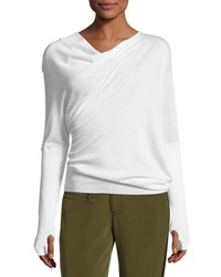 Tom Ford Draped Front Long Sleeve Top White