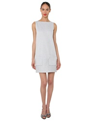 Isaac Mizrahi Sleeveless Stripe Sheath Dress Grey