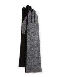 Portolano Colorblock Cashmere Blend Long Gloves H. Charcoa