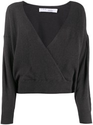 Iro Wrap Style Knitted Top Grey
