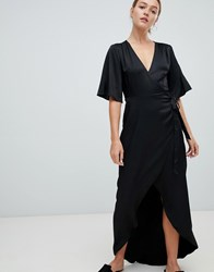 Minimum Moves By Flutter Sleeve Maxi Wrap Dress Black