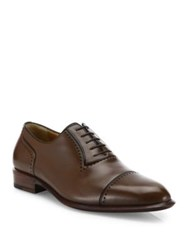 A. Testoni Perforated Leather Derby Shoes Coffee