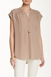 Pleione Short Sleeve Kim Blouse Brown