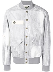 Mr And Mrs Italy Button Down Bomber Jacket Grey