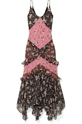 Michael Kors Collection Ruffled Floral Print Silk Chiffon Maxi Dress Black