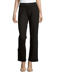 Matty M Wide Leg Pinstripe Ponte Pants Black