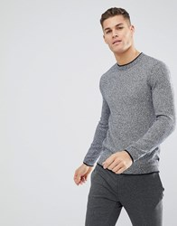 Ted Baker Crew Neck Jumper In Texture Navy Blue