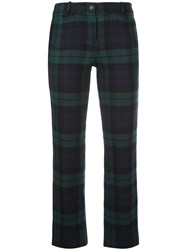 Michael Kors Collection Tartan Flannel Cropped Trousers Green