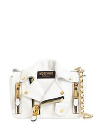 Moschino Biker Leather Shoulder Bag White