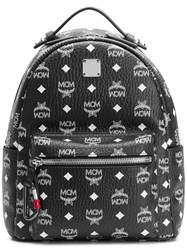 Mcm Logo Print Backpack Black