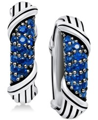 Peter Thomas Roth Sapphire Hoop Earrings 5 8 Ct. T.W. In Sterling Silver Blue Sapphire