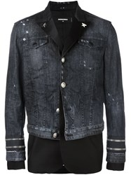 Dsquared2 Mixed Material Denim Jacket Black