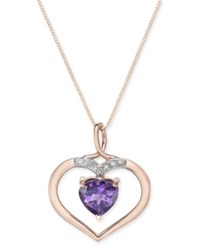 Macy's Amethyst 1 3 4 Ct. T.W. And Diamond Accent Pendant Necklace In 14K Rose Gold