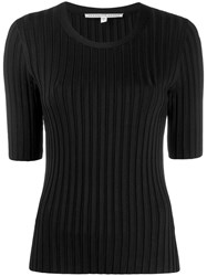 Veronica Beard Short Sleeve Fitted Sweater Black