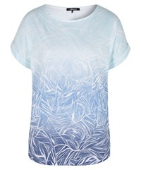 Olsen Graphic Leaves Print Top Blue