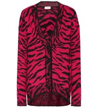 Saint Laurent Wool And Mohair Blend Cardigan Pink