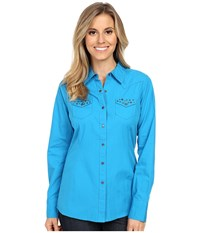Ariat Leigh Snap Shirt Deep Aqua Women's Long Sleeve Button Up Blue