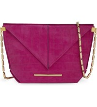 Roland Mouret Classico Suede Cross Body Bag Orchid Pink