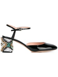 Rochas Mary Jane Pumps With Crystal Embellished Heel Black