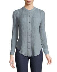 Evidnt Textured Button Front Blouse Green
