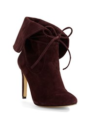 424 Fifth Tallis Suede Lace Up Booties Claret