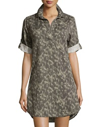 Chelsea And Theodore Rolled Sleeve Camo Print Tunic Soft Grey