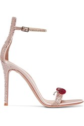 Gianvito Rossi Crystal Embellished Satin Sandals Antique Rose