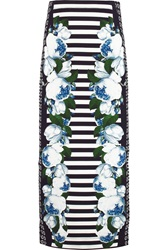Mother Of Pearl Ivy Floral Print Jersey Midi Skirt Blue