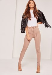 Missguided High Waisted Lace Up Skinny Jeans Camel