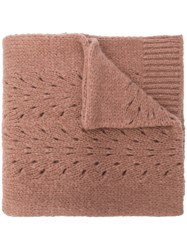 Roberto Collina Perforated Knit Scarf Nude And Neutrals