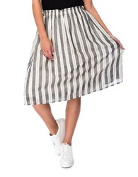 B Collection By Bobeau Striped A Line Skirt Charcoal