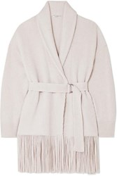 Brunello Cucinelli Belted Ribbed Fringed Cashmere Cardigan Beige
