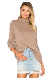 Autumn Cashmere High Low Turtleneck Sweater Brown