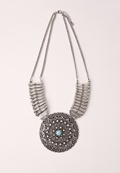 Missguided Statement Ethnic Disk Necklace Grey