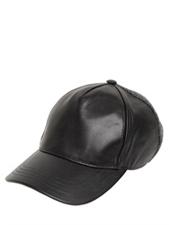 Calvin Klein Leather And Felted Wool Baseball Hat
