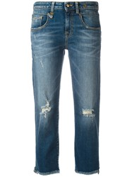 R 13 R13 Straight Cropped Jeans Blue