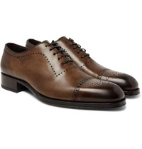 Tom Ford Edgar Burnished Leather Oxford Brogues Brown
