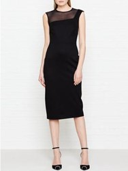 Lk Bennett L.K. Sophia Mesh Panel Fitted Dress Black