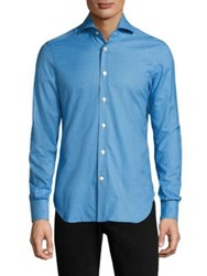 Kiton Small Check Cotton Casual Button Down Shirt Blue