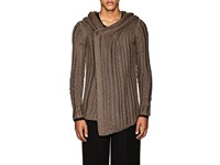 Rick Owens Open Rib Knit Silk Hooded Cardigan Dark Gray