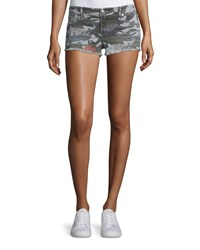 True Religion Joey Cutoff Denim Shorts Camo Floral Women's