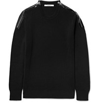 Givenchy Zip Detailed Ribbed Cotton Sweater Black