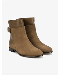 Jimmy Choo Major Flat Suede And Leather Boots Khaki Green