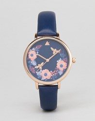 Asos Curve Dark Floral Watch Navy