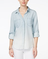 Velvet Heart Riley Roll Tab Sleeve Button Down Shirt Light Blue