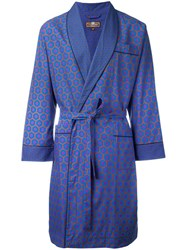 Otis Batterbee Burgundy Cravat Dressing Gown Blue