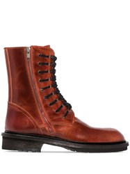 Ann Demeulemeester Lace Up Ankle Boots Brown