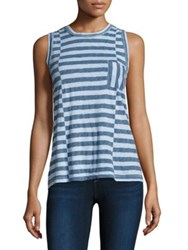 Stateside Striped Pocket Cotton Tank Top Sky